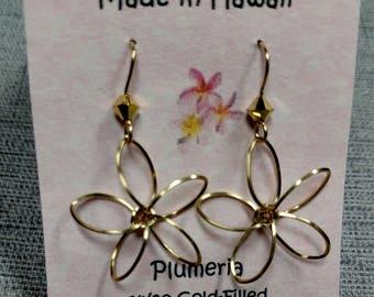 Wire Wrapped Plumeria Earrings