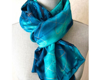 Ocean Blues with Gold Hand Painted Silk Scarf