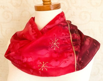 Silk Scarf Hand Painted Christmas Stars in Red, Burgundy and Metallic Gold