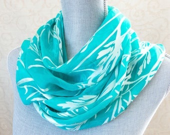 Silk and Rayon Devore Satin Scarf in Soft Aqua with Bamboo Pattern