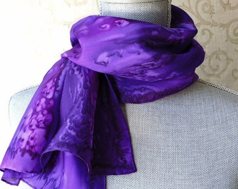 Silk Scarf Hand-Dyed in Shades of Purple