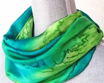 Silk Scarf Hand Painted in Peridot and Teal Greens