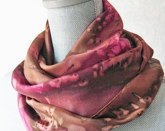 Silk Scarf Hand-Painted in Brown and Red