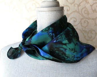 Silk Square Bandana Scarf Hand-Dyed in Forest and Midnight