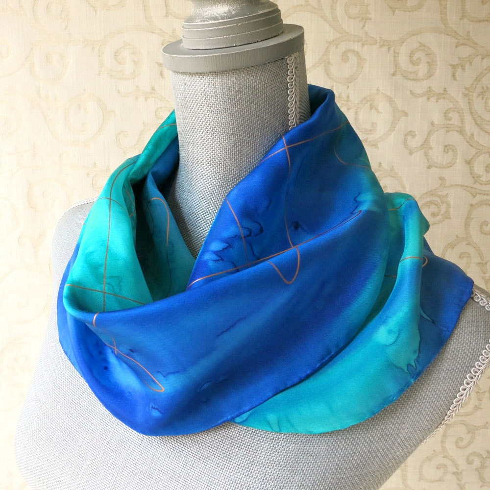 Aqua and Midnight with Gold Accent Silk Scarf Hand-Painted in Sapphire