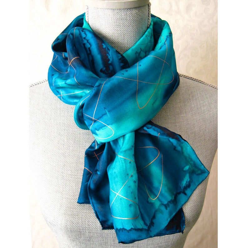 Ocean Blues with Gold Hand Painted Silk Scarf image 0