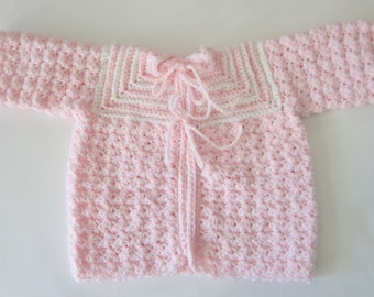 86b60664d18a Crocheted Girl Sweater Set Size 0 to 3 Month Baby Shower