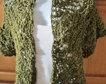 Dark Green Shawl, Crocheted,Olive Green Wrap, Gift for women