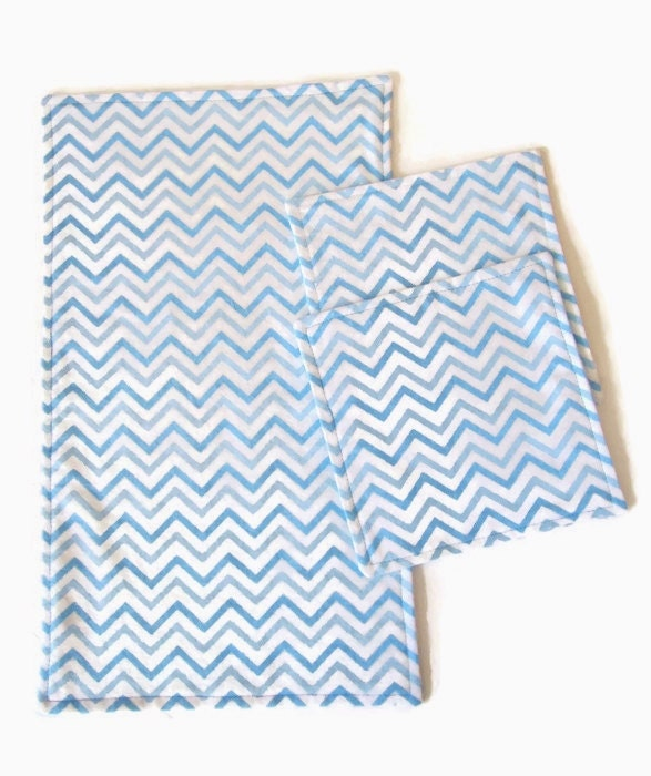 Wash Burp Cloths Before Use: Burp Cloth And Baby Wipes Set Blue Chevron Flannel Wash