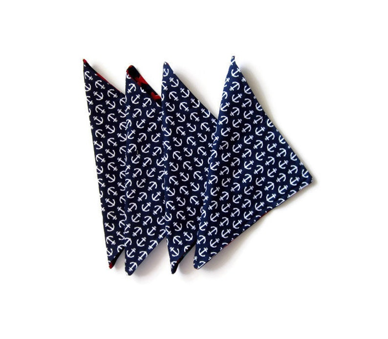 Navy and Red Reversible and Washable Lunchbox Napkins with Sharks and Anchors 8X8 Cloth Napkins Set of 4