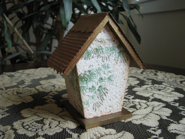 papier peint maison alt r e art birdhouse toiture en cuivre etsy. Black Bedroom Furniture Sets. Home Design Ideas