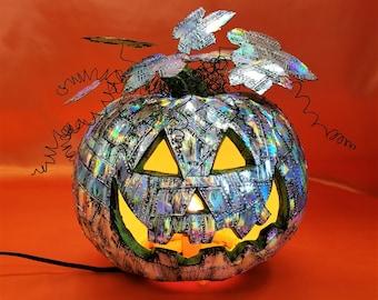 Holographic Steampunk Pumpkin, Grunge Riveted Metal, Industrial Punk Pumpkin, Metal Pumpkin, Interior Decoration, Halloween Lighted Pumpkin