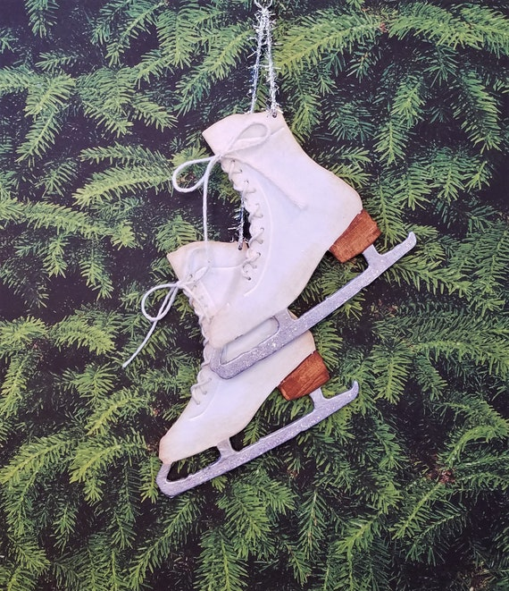 image 0 - Decorative Ice Skates Christmas Ornament, Hand Painted Pair Of Ice Skate  Die Cuts, White Laced Ice Skates, Tinsel Twine, Special Gift Tag