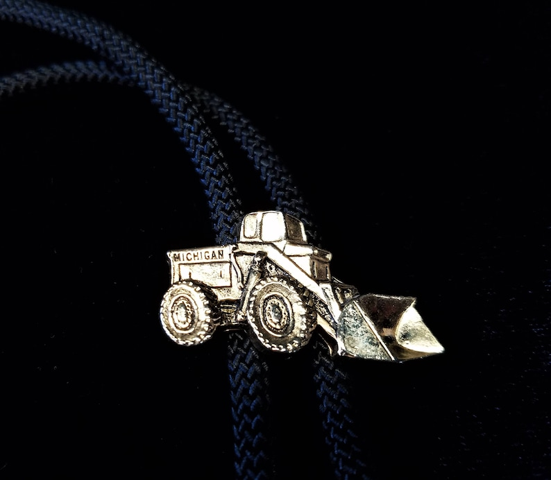 Heavy Equipment Bolo Miniature Loader Gift for Him Industrial Tie Michigan Truck and Equipment Gold Bulldozer Bolo Tie Front End Loader
