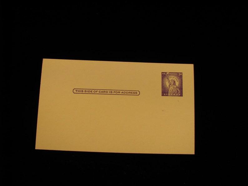 1956 Vintage Statue Of Liberty Postcard Purple 3 Cent Stamp