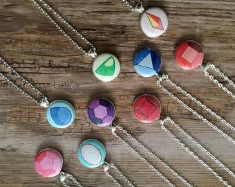 Steven Universe, Crystal Gems Pendant, SU Necklaces, Pearl SU, Garnet, Amethyst SU, Rose Quartz, Nerdy Gift, Fandom Jewelry, Lapidot