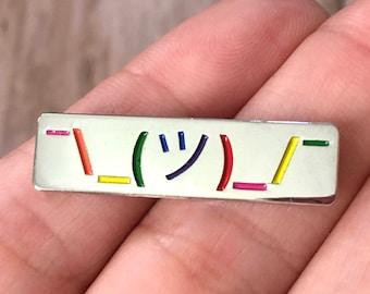 Shrug Emoji Enamel Pin, Rainbow Enamel Pin, Gay Pride, Genderqueer, LGBTQ, Nonbinary Pride, Queer Pride Pin, Soft Enamel Pin