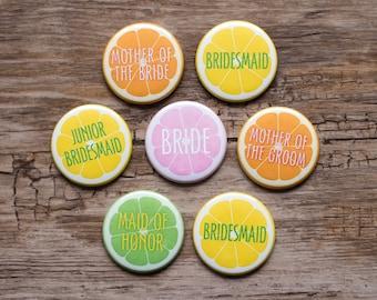 2.25 Citrus Wedding Pins, Lemon and Lime Bridesmaid Button, Fruit Theme Bridal Shower Orange Slice Pin Maid of Honor Badge Junior Bridesmaid