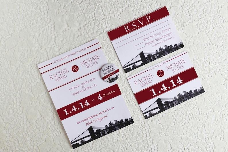 New York City NYC Save the Date Magnet Brooklyn Bridge Wedding Invitation Skyline Silhouette Red and Black Ampersand Invite Destination