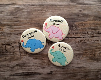 2.25 Inch Elephant Theme, Baby Shower Button, Mom to Be Pin, Auntie Badge, Gender Reveal, Yellow Polka Dots, Gender Neutral, Boy Baby Shower