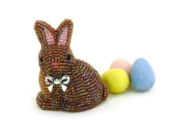 Bunny Figurine Miniature Beaded Brown Rabbit Faux Chocolate Bunny Stocking Stuffer Fairytale Gift *READY TO SHIP