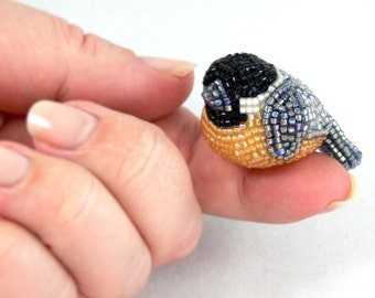 Chickadee Bird Figurine Miniature Beaded Animal Totem Stocking Stuffer Hostess Gift *READY TO SHIP