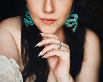 SERPENTINE patina copper snake earrings