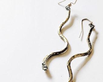 CHARMER brass snake earrings
