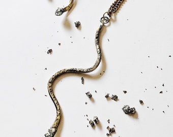 CHARMER brass snake necklace