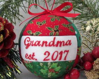 Grandma 2017 Our First Christmas as Grandparent Ornament Personalized Ornament Grandparent Gift First Grandchild, Pregnancy Announcement