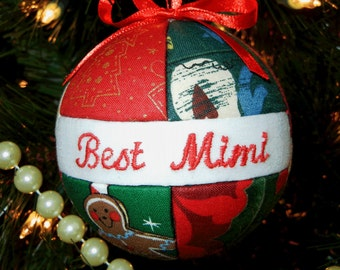 Ornament / Best Mimi Ornament Christmas Holiday Ornament Tree Decoration Quilted Look Ornament Ready To Ship by CraftCrazy4U on Etsy