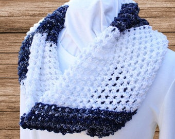 Navy and White Cowl, White Knit Scarves, Lace Knit Cowls, Cowl Knit with Patons Glam Stripes Yarn, Navy and White Infinity Scarf