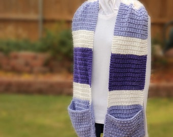 Purple and White Hand Knit Scarf, Knitted Scarf with Pockets, Striped Knit Scarves, Purple Scarves. Lavender Knit Scarf, Pocket Scarves