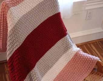 Knitting Pattern for Lap Blanket, Knit Pattern for Small Blanket, Wheel Chair Blanket Pattern, Striped Knit Blanket Design