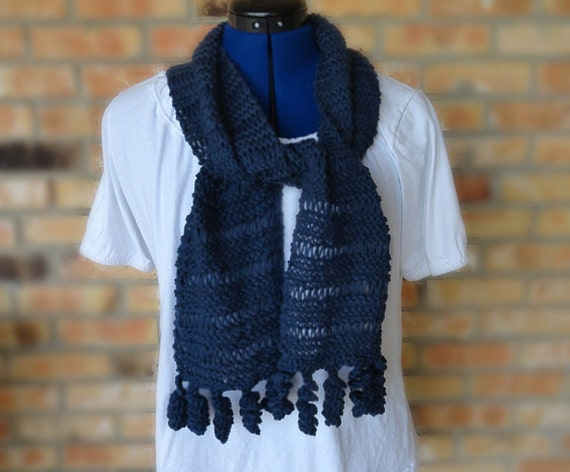 Knit Scarf Pattern Easy To Knit Scarf With Crocheted Etsy