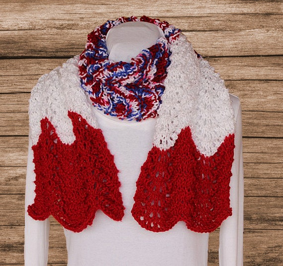 Wide Knit Scarf Pattern Ripple Knit Scarves Knitted Scarf Etsy