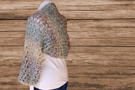 Knitted Shrug Patterns Big Lacy Knit Shrug Pattern To Knit Etsy