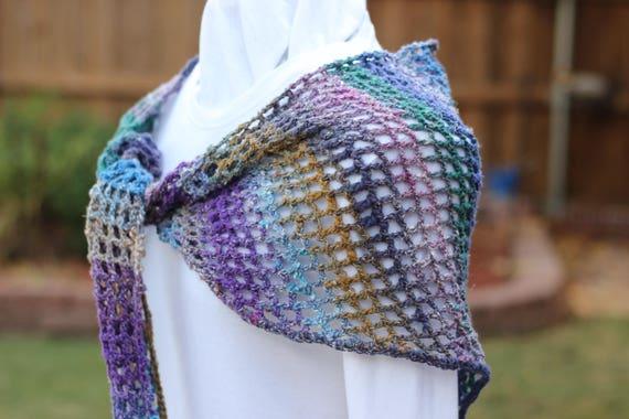 Gehäkelte Wrap lila häkeln Schal blau und lila Schals   Etsy