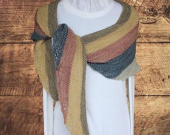 Knitting Pattern for Shawl, Lace Shawl Knitting Patterns, Easy to Knit Shawl, Lace Wave Garter Knit Shawl Pattern, Triangle Scarf Pattern