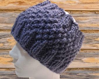 Lavender Wide Knit Headband, Light Purple Messy Bun Hat, Wide Knit Headbands, Purple Ear Warmer, Lavender Knitted Hat