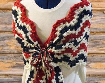 Pattern for Crocheted Wrap, Crochet Scarf Patterns, Ripple Crochet Pattern, Patriotic Crochet Designs, USA Colors Crochet Pattern