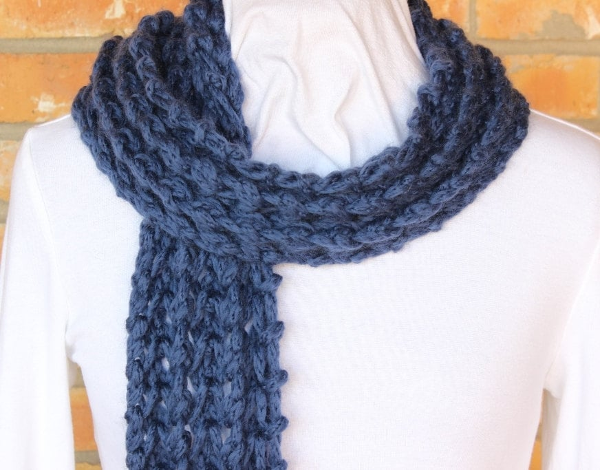 Easy Pattern for Knit Scarf Chunky Knit Scarf Pattern   Etsy