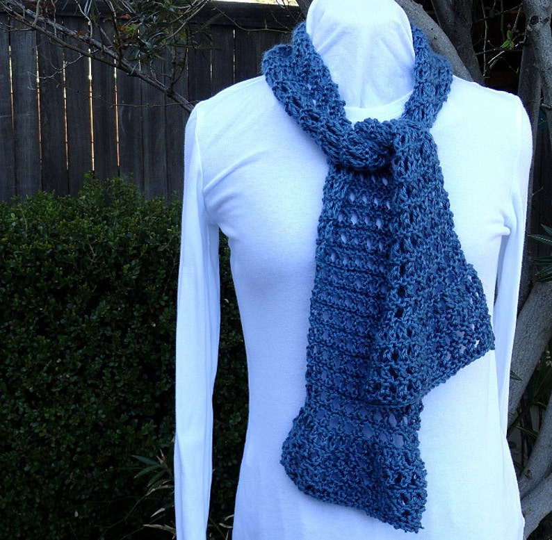 Knitting Pattern For Scarf Lace Knit Scarf Pattern Diagonal Etsy
