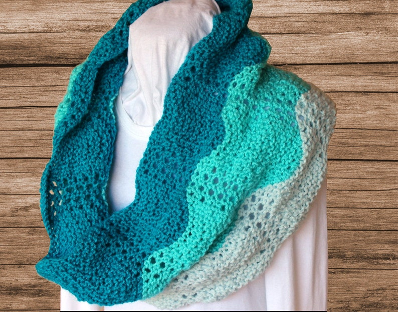 Knit Cowl Pattern Gradient Colors Knit Scarf Pattern Knitted Etsy