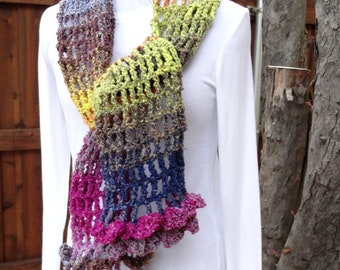 Multi Color Crocheted Scarf, Lightweight Spring Scarf, Scarf with Purple, Lavender, Orange and Yellow Yarn, Noro Yarn Crocheted Scarf
