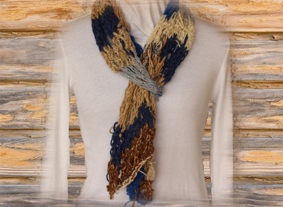 Knit Scarf Pattern Knit Pattern Using Homespun Yarn Scrap