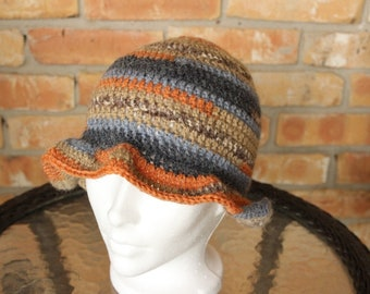 Blue, Tan and Orange Crocheted Hat, Crocheted Hat with Brim, Hat Crocheted with Alpaca Yarn