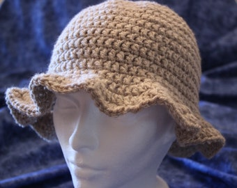 Cream Colored Hat, Crocheted Hat with Brim, Oatmeal Colored Hat, Hats with Ruffle Brim, Chemo Hats, Winter Hats