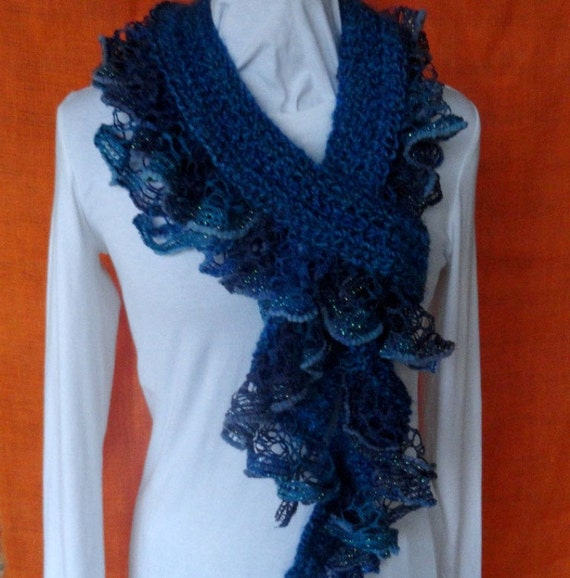 Crochet Scarf Pattern Crochet Scarf With Ruffle Yarn Edging Etsy