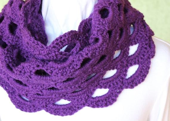 Crochet Pattern For Cowl Crocheted Cowl Pattern Scalloped Etsy